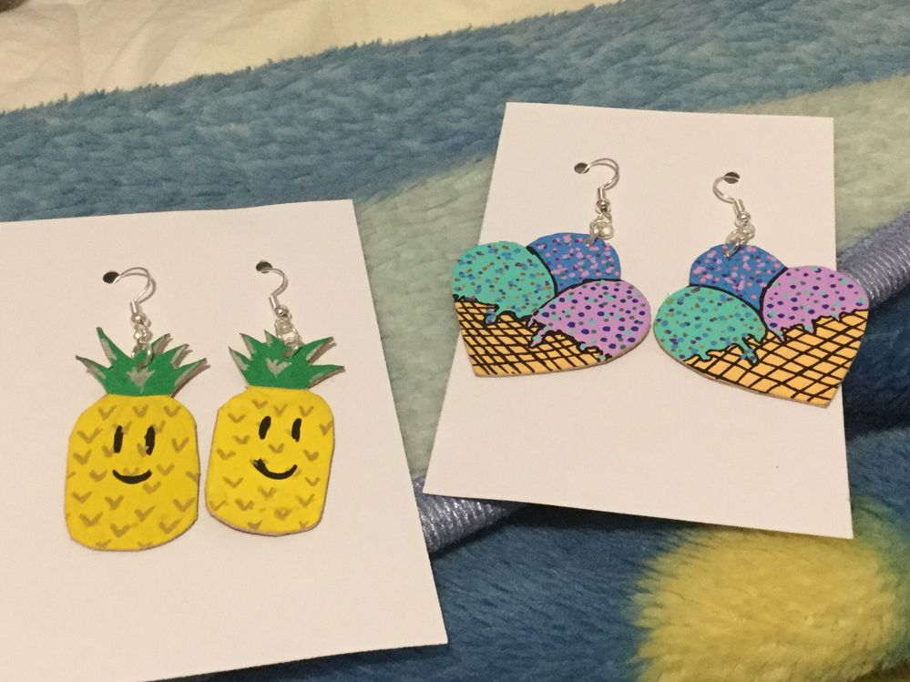 My earrings I made this morning...