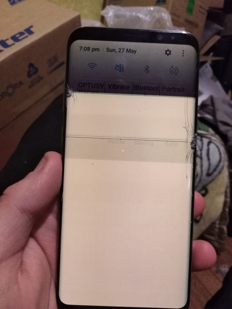 That's the screen and it has a bit little cracks which you can't see and it has a massive line cracked crossed the screen which has done that as you can see