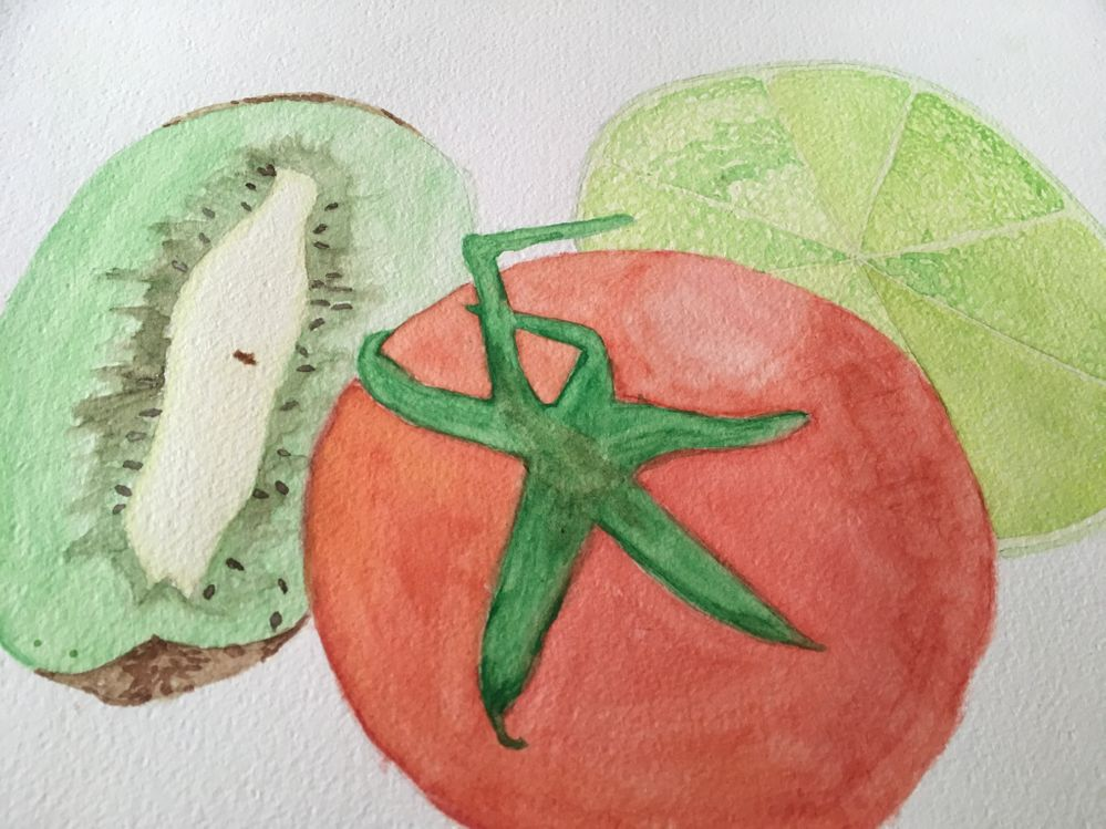 i don't really know why i drew fruit and veggies.